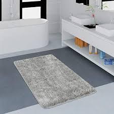 paco home moderner badezimmer teppich einfarbig microfaser kuschelig gemütlich in grau grösse 70x120 cm