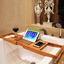 Bamboo Bath Caddy Nz by Adjustable Bamboo Bathtub Book U0026 Wine Caddy