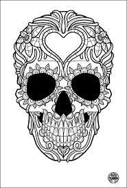 Free Coloring Page Adult Tatouage Simple Skull Tattoo