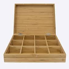 point virgule teebox aus bambus holz mit 12 fächern für aufbewahrung küche teebeutel aufbewahrungsbox 28x23x6 8cm