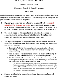 OSHA Regulations 29 CFR (I) Powered Industrial Trucks. Mushroom ... Forklift Top 6 Common Osha Compliance Pitfalls For Powered Sample Generic Checklist Industrial Trucks Youtube Gensafetysvicespoweredindustrialtruck The Safety Drumbeat Ignored As Often Its Heard University Operator Traing Osha Forklift Fact Sheet Elegant Etool Associated Regulations Required Power Truck Features Continue To Evolve Ehs Pit Pp T