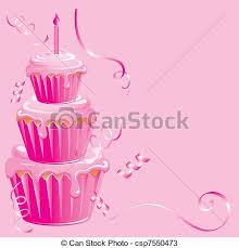 Baby Girl Birthday Cupcake csp