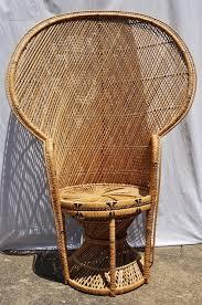 Vintage Fan Back Peacock Wicker Chair Hollywood Regency By Aligras