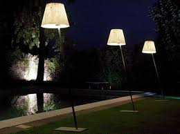 Garden With Pool And Outdoor Floor Lamps Warm And Decorative