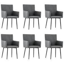 vidaxl esszimmerstühle mit armlehnen 6 stk dunkelgrau stoff gitoparts