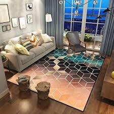 wkitchenmat moderner teppich sehr weich sehr groß für wohnzimmer geometrischer teppich gold diamantenmuster orange blau
