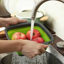 draining korb zusammenklappbare colander silikon küche lagerung obst und gemüse falten filter