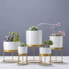 nordic kreative gold eisen kunst runde weiß keramik blume topf sukkulenten blumentöpfe büro wohnzimmer desktop dekoration bonsai