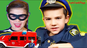 Fire Trucks For Kids - Costume Pretend Play - Playing Police ...