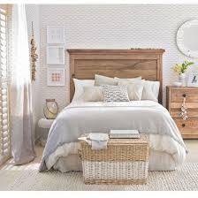 Beach Themed Bedroom With Fish Motif Wallpaper
