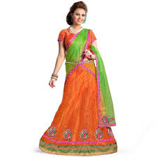 Asian Lehenga Orange Banarsi Brocade Chaniya Choli