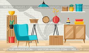 innen wohnzimmer möbel und wohnkultur stock clipart