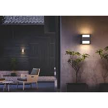 philips arbour led up outdoor wall light with pir black