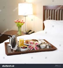 Breakfast Tray Laying White Bed Stock Shutterstock