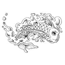 Easy Koi Fish Coloring Japanese Tattoo Flash By Caylyngasm