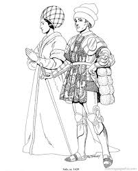 Renaissance Costumes And Clothing Coloring Pages 7