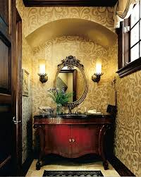 Guest Bathroom Decorating Ideas by Powder Room Guest Bathroom Decor With Floral Wallpaper Decoist