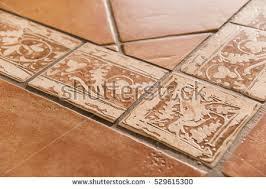 detail mediterranean style terracotta floor tiles stock photo