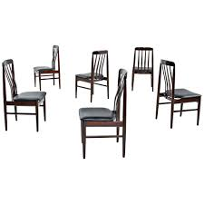 Set Of 6 Dining Chairs Danish Modern Rosewood Slat Back For