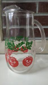 Vintage Smiling Tomatoes Glass Pitcher Perfect For Bloody Marys With Brunch By IslasAisle On Etsy