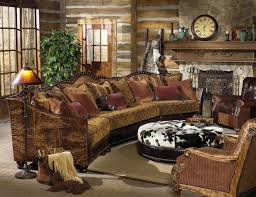 Rustic Country Living Room Furniture With Vintage Brown Sofa And Round Ottoman Also Traditional Fireplace