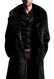 amazon com hochock men u0027s winter lapel faux fur long overcoat
