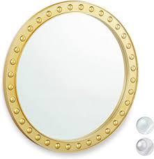 relaxdays wandspiegel rund moderner deko spiegel zum aufhängen flur wohnzimmer bad wc 50 5 cm mit rahmen gold