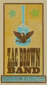 Zac Brown Band Letterpress Show Poster 2011
