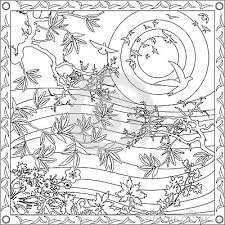 Coloring Page Book For Adults Square Format Bamboo Japanese Design