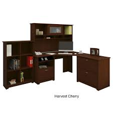 Realspace Broadstreet Contoured U Shaped Desk Cherry by Bush Cabot L Shaped Desk Heather Gray Best Home Furniture Decoration