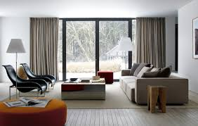 Brown Carpet Living Room Ideas by White Plain Vertical Curtain Standing Lamp Wooden Flor Coffee