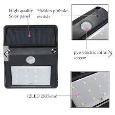 12 led solar powered pir motion sensor light seekfancy