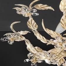 pompöse florentiner deckenleuchte 5 flammig handgemacht in italien eisen mit blattgold beschichtet bleikristall