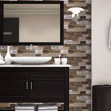 Thinset For Glass Mosaic Tile by Shop Allen Roth Laser Contempo Beige Mixed Material Glass And