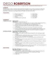 Resume Of Auditor Night Sample Professional Summary