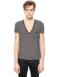 saint laurent striped cotton jersey v neck t shirt in black for
