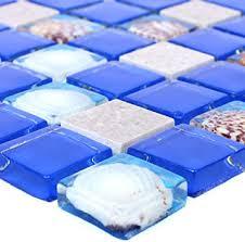 glasmosaik natursteinfliesen tatvan muschel blau grau wandfliesen mosaik fliesen glas mosaik fliesen bordüre ideal für die küche und