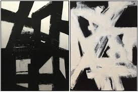 Left Large Black And White Abstract Painting By Cindy Robinson GBP41278 Right On
