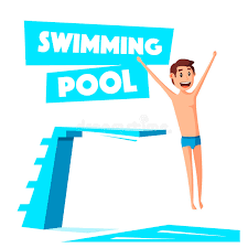 Download Swimming Pool With A Diving Board Cartoon Vector Illustration Stock