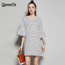 2017 Summer Dress Women Cotton Junior Plus Size Casual Striped Mini O Neck Flare Half Sleeve Straight Office Girls In Dresses From Womens