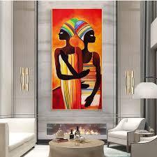 vertikale dekoration malerei moderne abstrakte afrika porträt ölgemälde auf leinwand bild für wohnzimmer große größe handgemachte