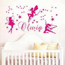 autocollant chambre bébé fée nom personnalisé stickers muraux bébé fille chambre murale mur
