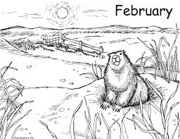 Groundhog Coloring Pages Landscape Page