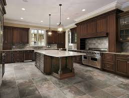 Amazing Stone Tile Flooring For Kitchen Rustic Style Dark Brown Cabinets And Island