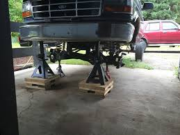 Blocks Instead Of Jack Stands? - Page 2 - Ford Truck Enthusiasts ... Gray Jack Stands 10 Ton 25 35 Now At Triple R Truck Parts Husky 3ton Light Duty Jack Kithd00127 The Home Depot Vwvortexcom Stands Mchflex Rotary Lift How To Jack Up A Big Truck Safely Truck Edition Youtube Amazoncom Heinwner Hw93503 Blueyellow Stand 3 Ton Xpcamper Enthusiast Forum Craftsman 214 Ton Floor Set With Stands New Torin Big Red Auto Craft 1 Pair Car Homemade Camper Products Comparison List Forklift Refurbished
