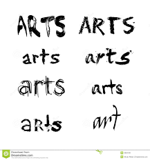 Arts Spelled In Various Fonts A Black And White Collection Or Set Of The Word