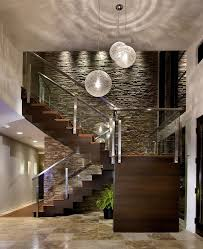 Stone Accent Wall Staircase Contemporary With Dark Wood