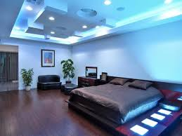 Medium Size Of Wonderful Blue Bedroom Decor With Smart Light Ceiling Also Black Leather Sofa