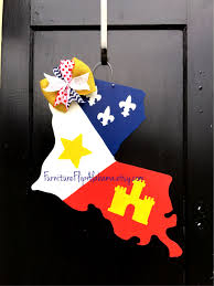 Burlap Mardi Gras Door Decorations by Lafayette Strong State Of Louisiana Door Hanger La State Flag Door