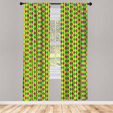gardine fensterbehandlungen 2 panel set für wohnzimmer schlafzimmer dekor abakuhaus grün und lila karneval rhombs kaufen otto